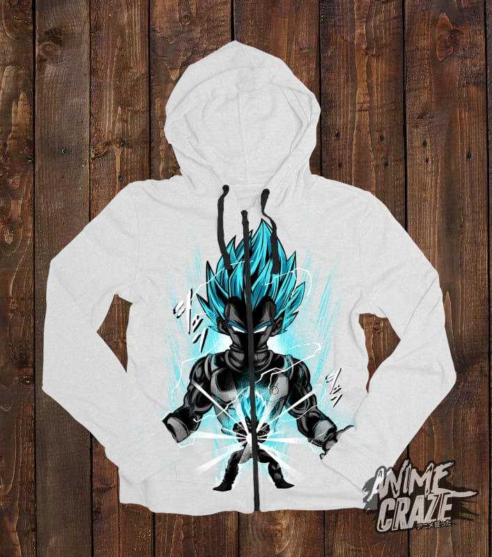 Blue Vegeta Zip-Up Hoodie(Exclusive) - Anime Craze