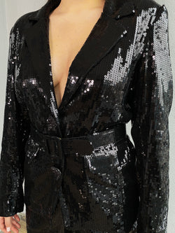 Black Sequin Blazer with Shoulder Pads and High Waist Trouser Suit - NALÈ