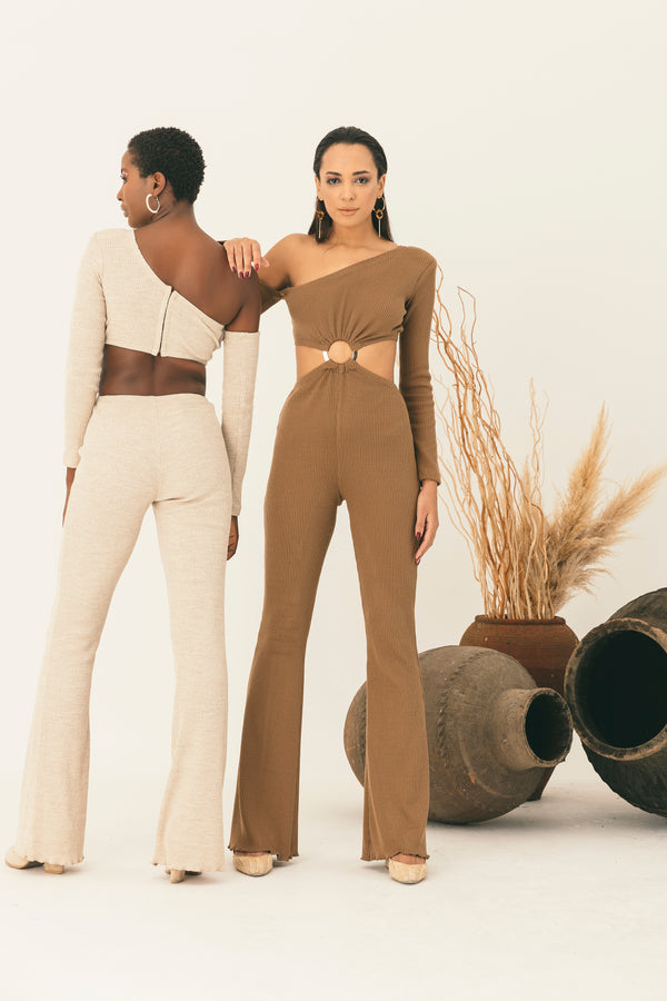 Nude jump-suit in cream and brown with cutout for loungewear