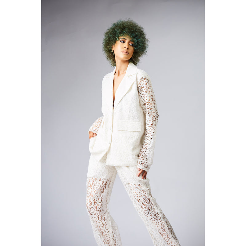 Sheer Lace Blazer and Pants Suit - NALÈ