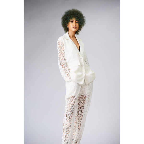 Sheer Lace Jacket and Pants Suit