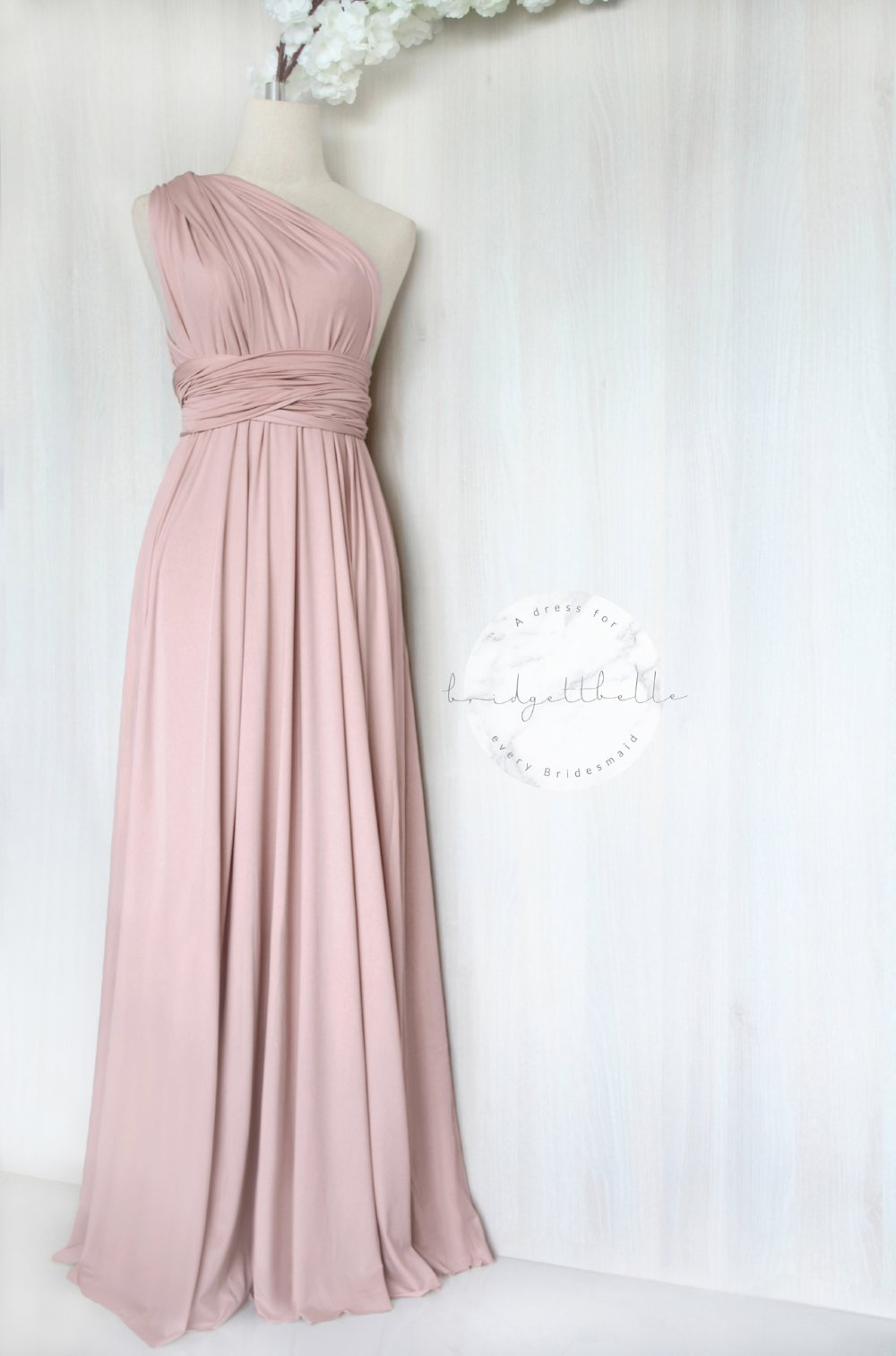 BB Floor length Maxi Infinity Multiway Convertible Formal Prom Bridesmaid dress in Peach Regular /& Plus size