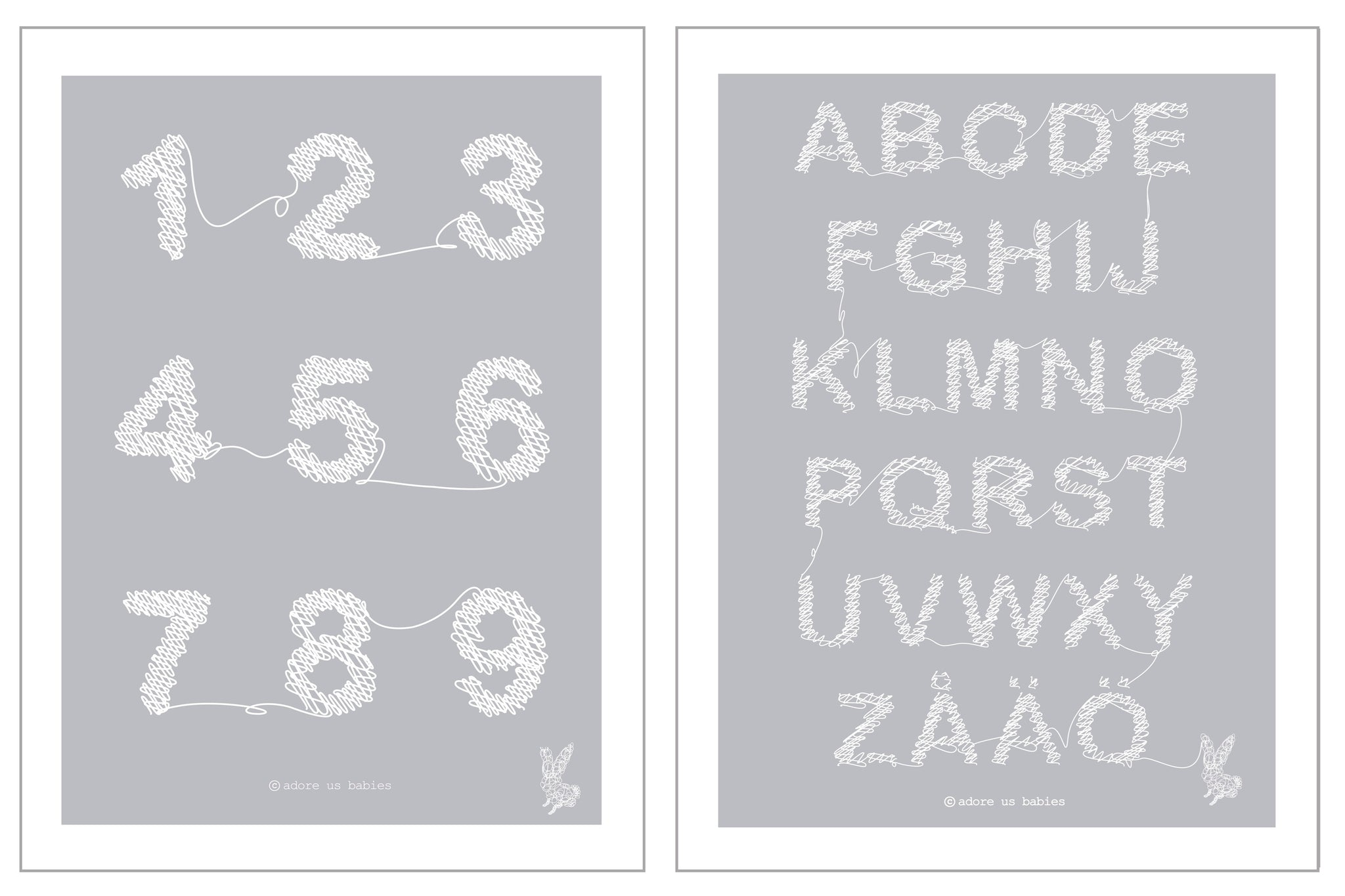 ABC + 123 Kids Poster in Grey/White