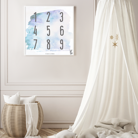 Numbers from 1 to 9 on a square shaped simple and stylish poster with watercolor inspired background for the kids' room
