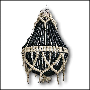 Wooden Bead Chandelier - Black/Natural - Fancy
