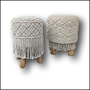 Boho Chic Macrame Round Footstool / Side Table