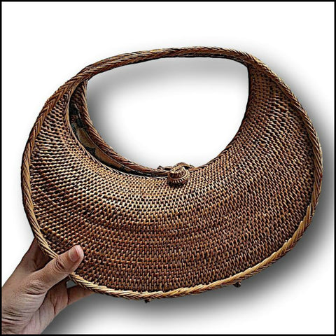 Eliptical Rattan Atta Hand Bag / Clutch - Natural