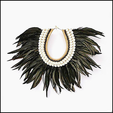 Boho Luxe, Beachy, Coastal, Tribal Necklace. Black Feathers an White Cowrie Shell. Interior Design - wall decor.