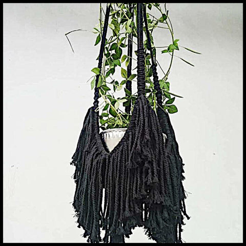 Fringed Macrame Pot Plant Holder - Black