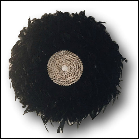 Feather Juju Hat Tribal Wall Hanging - Black