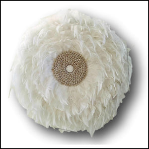 Feather Juju Hat Tribal Wall Hanging - White