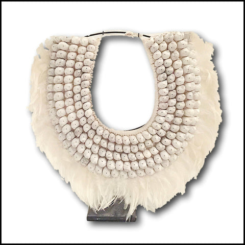 Tribal Necklace - White Shell and Feather