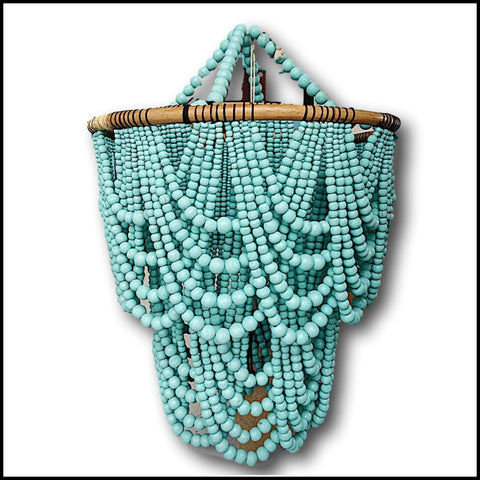 Stunning elegant wooden beaded chandelier - festoon style in teal add a touch of luxury to your home or wedding