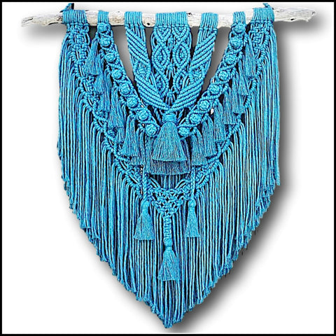 Deep Blue Decorative Macrame Fringe Wall Hanging