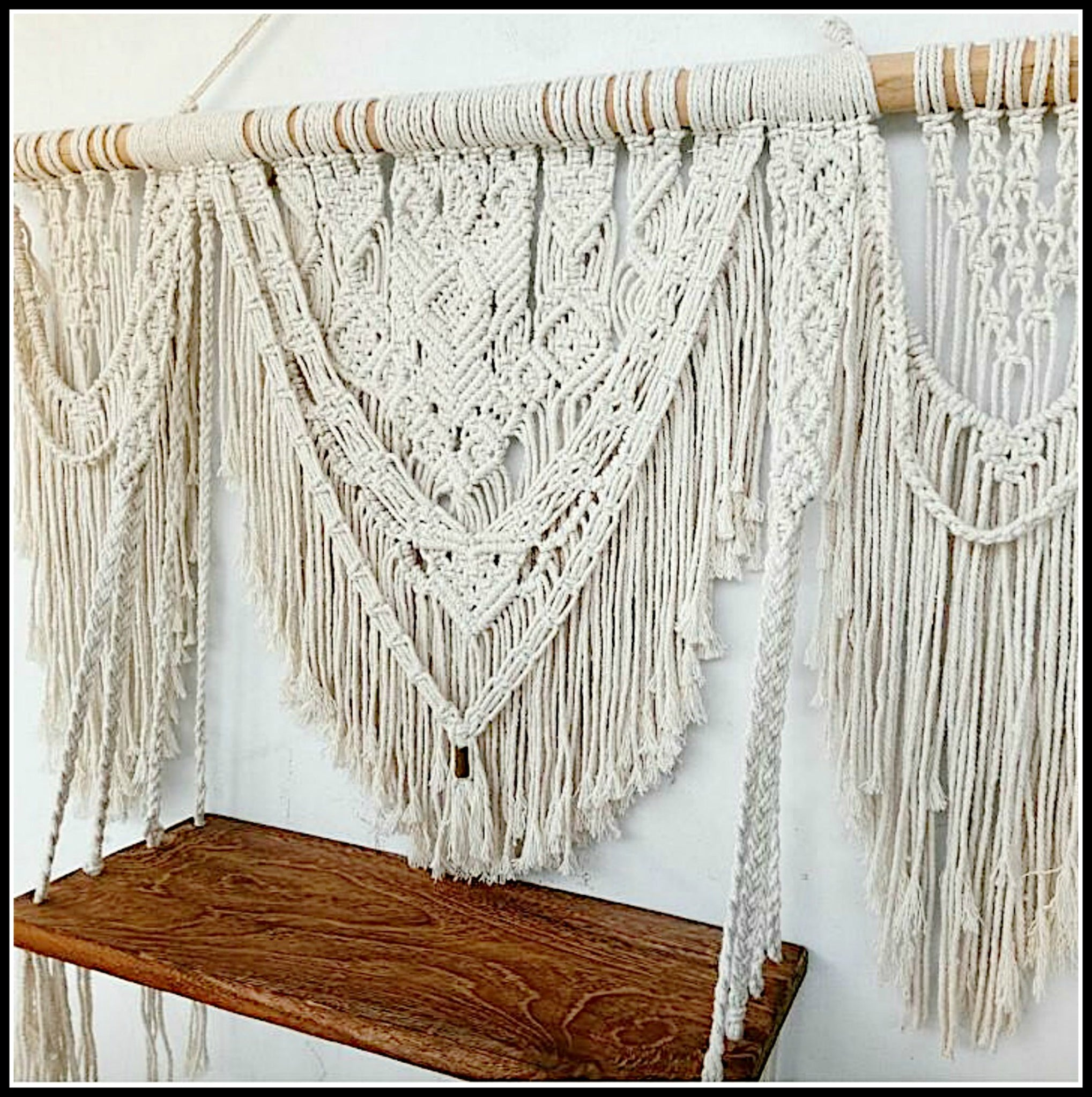Macrame Fringe Shelf Wall Hanging