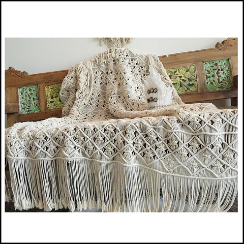 Macrame Fringed Throw