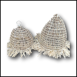Natural Rattan Fringed Boho Luxe Mesh Style chandelier
