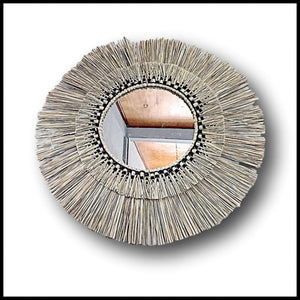 Rattan Sunburst Style Fringed Mirror Large 80cm Diameter