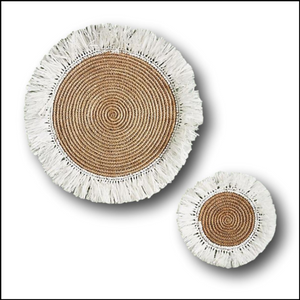 Natural and White Fringed Rattan Placemat and Coaster or Wall Decor
