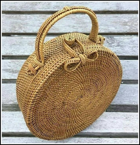 Round Rattan Atta Hand Bag - Natural