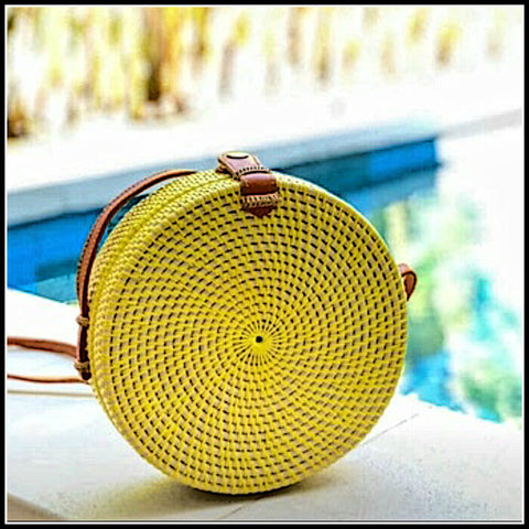 Round Rattan Atta Bag Yellow