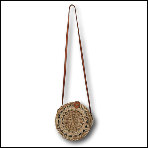 beachy boho rattan round patterned Atta bag in Natural. Perfect for formal occasions, the races, weddings. Designer Handbag