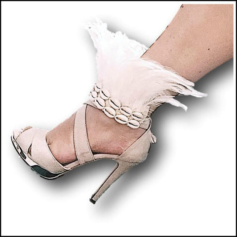 Feather and Shell Wrist / Ankle Cuff - Fashion Accessory or Decor