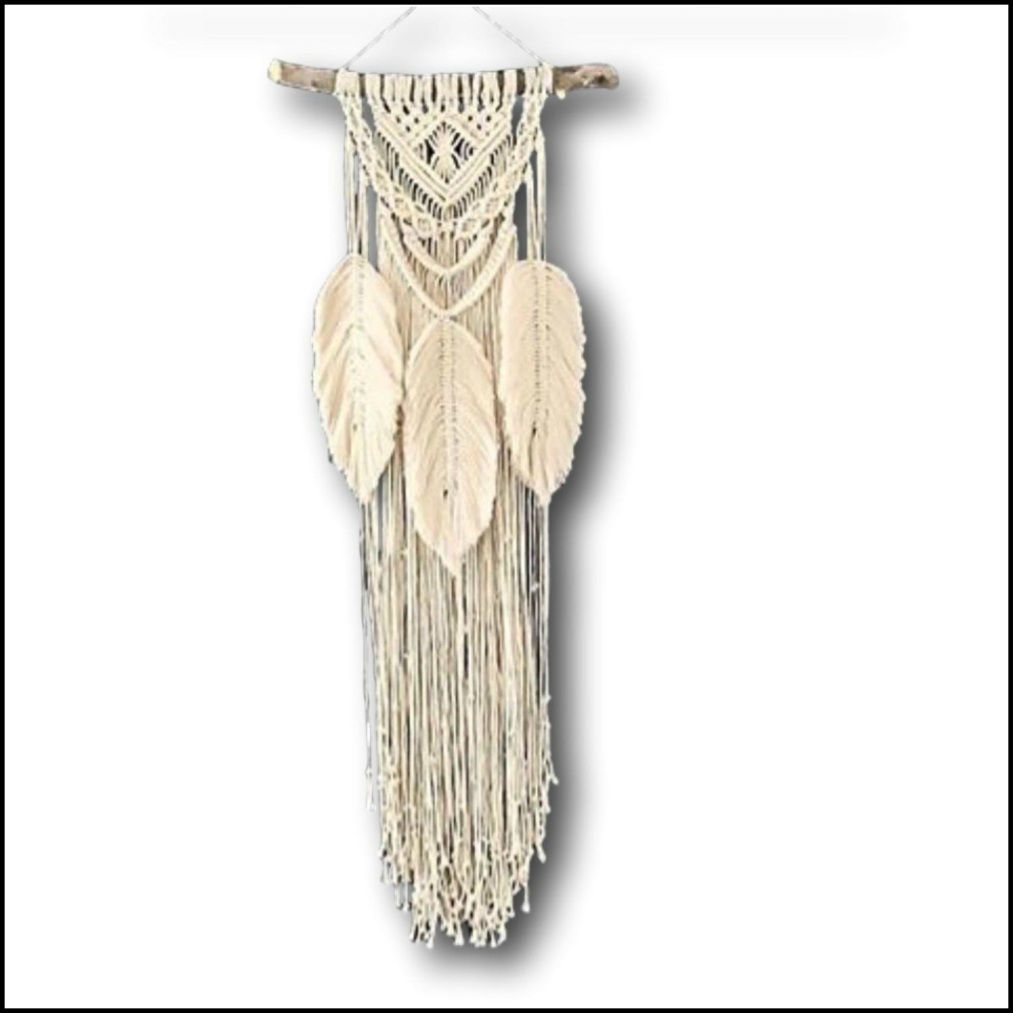 Boho Macrame Feather and Fringe Wall Hanging