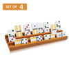 Exqline Wooden Domino Racks Trays Holders Organizer - Set of 4