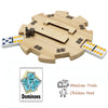 Solid Wooden Hub Centerpiece for Mexican Train Dominoes - Felted Bottom and User-Friendly Design