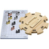 Mexican Train Dominoes Accessory Set  - Wooden Hub Centerpiece, Scorepad, Metal Train Markers