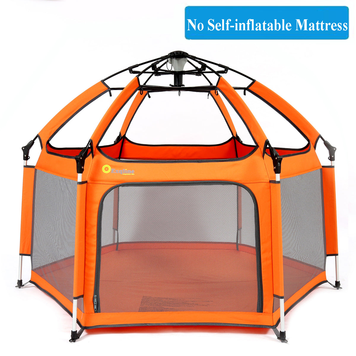 Baby Playpen with Self-Inflatable Mattress Foldable Best Kids Play Pen with UV Canopy for Home Traveling Beach Black Exqline Pop-n-Play Kids Safety Playpen 2019 Updated New Version