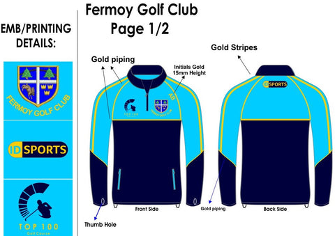 Fermoy golf club half zip leisure top.
