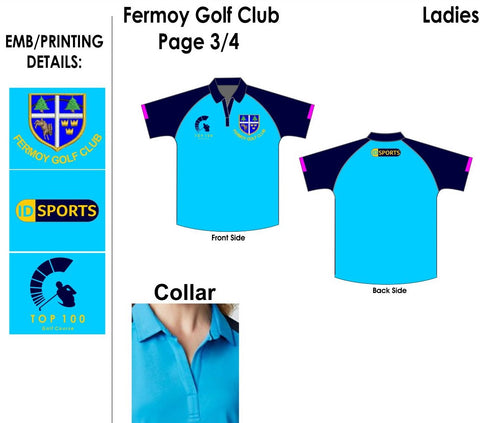 Fermoy golf club ladies coloured polo shirt
