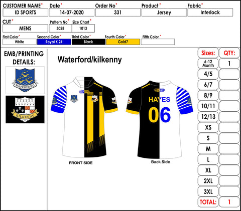 Waterford GAA and Kilkenny GAA Jersey