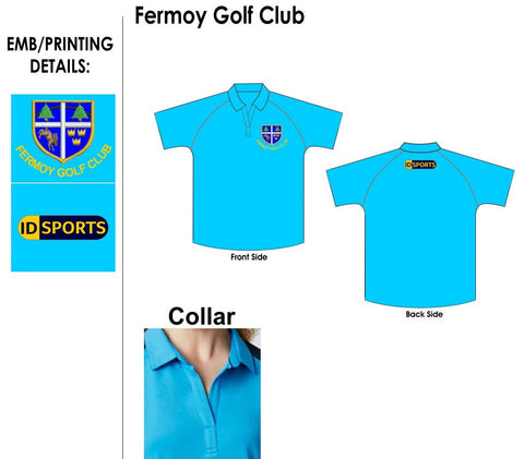 Fermoy Golf Ladies club plain cyan polo shirt