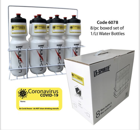 Covid 19 water bottle set of 8 x 1 ltr water bottles and wire carrier with individual name labels