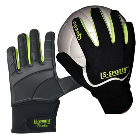LS Sportif Famous Gaa Football Glove Black Lime