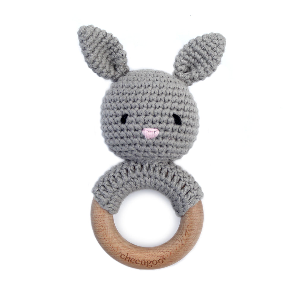 Cotton/Wood Teething Rattle - Grey Bunny