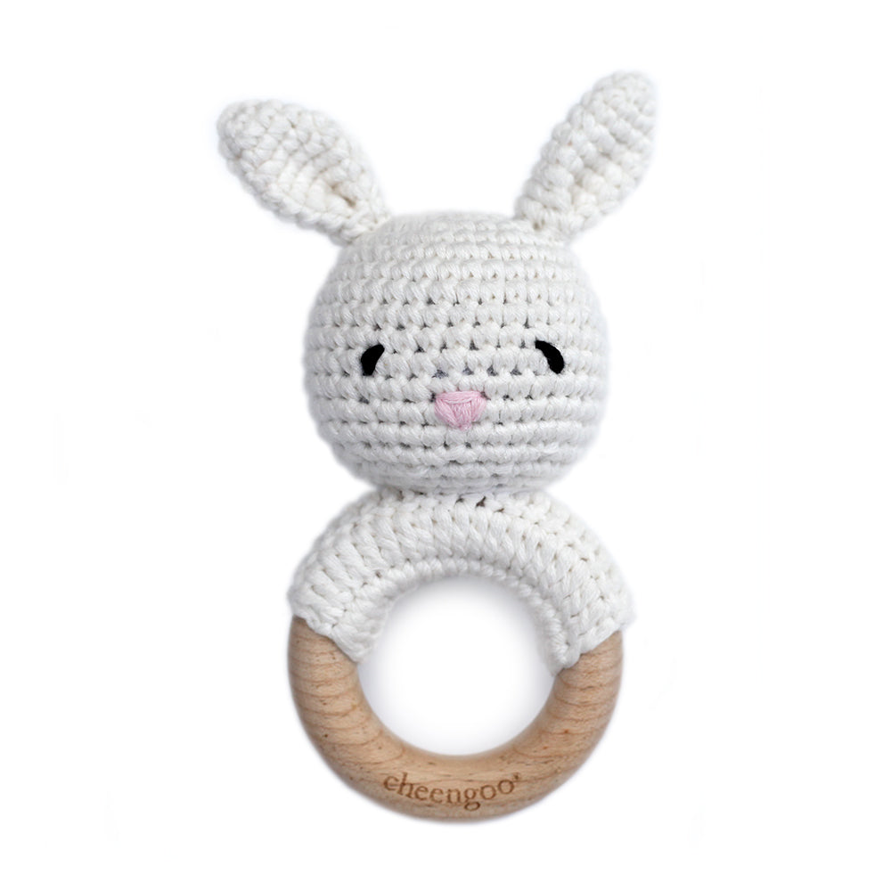 Cotton/Wood Teething Rattle - Snow Bunny