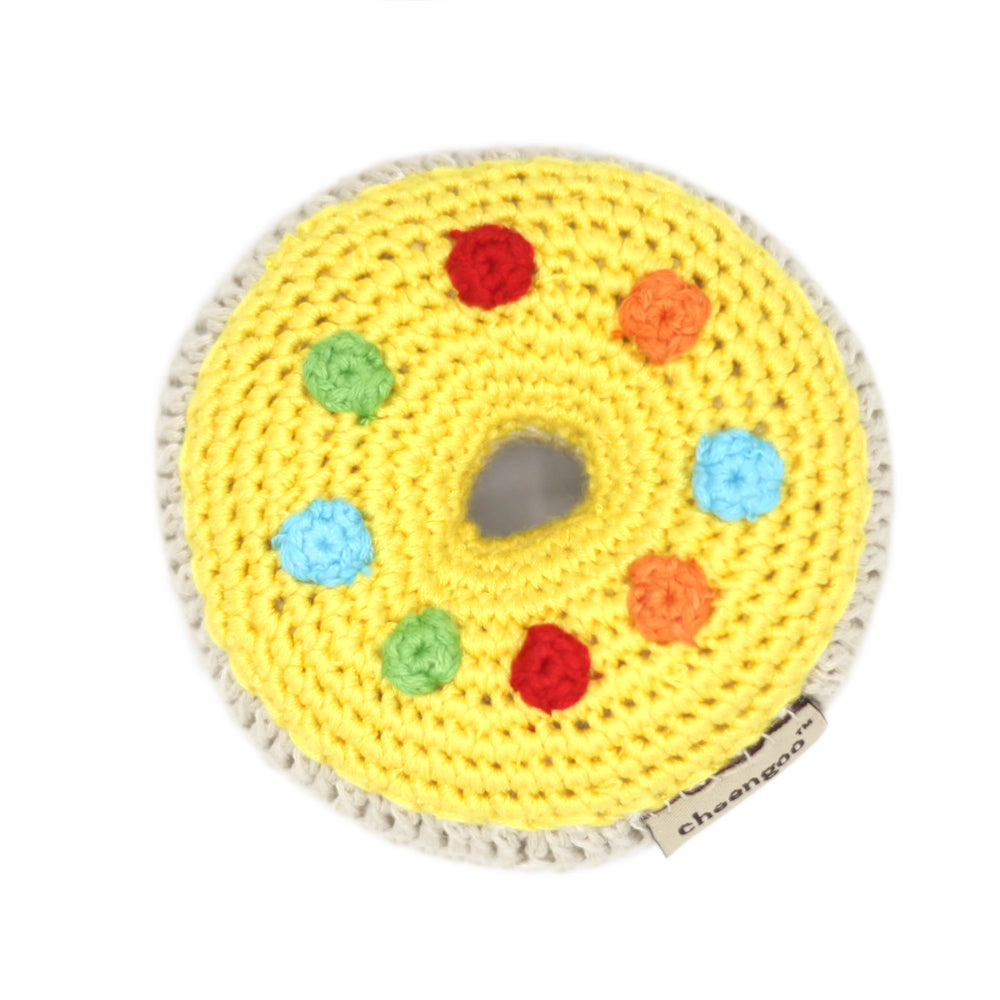 Crocheted Donut Rattle - yellow