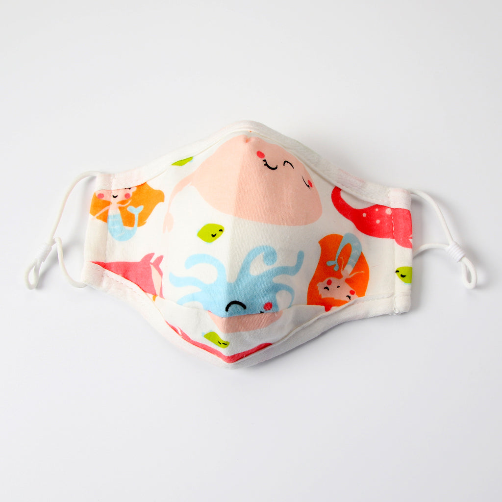 Kid's Reusable Cotton Face Mask with filter pocket - Under the Sea