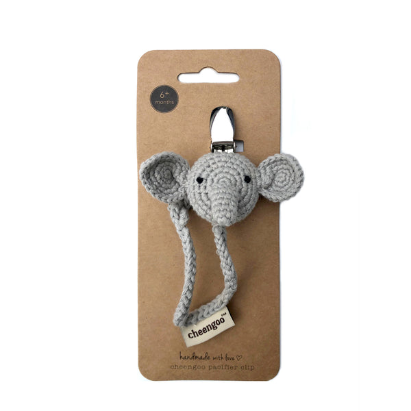 Elephant cotton pacifier clip