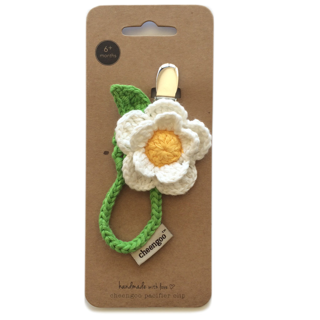 Daisy cotton pacifier clip