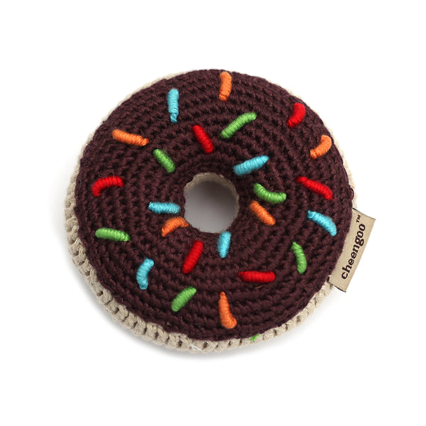 Crocheted Donut Rattle - chocolate