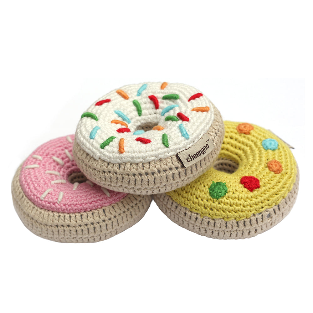 bee5a1f4ed8 Crocheted Donut Rattle Set - pink