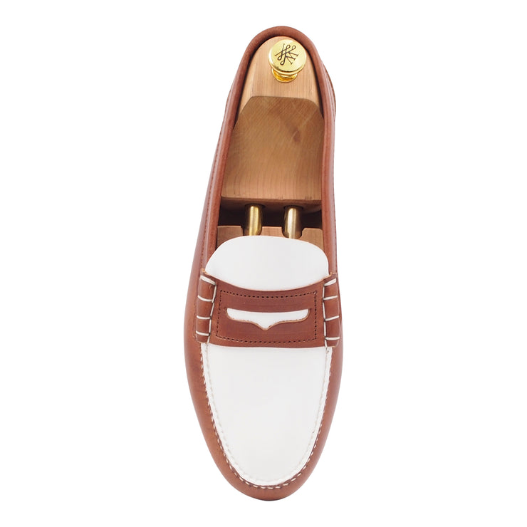 Mens Brown and White Leather Loafers