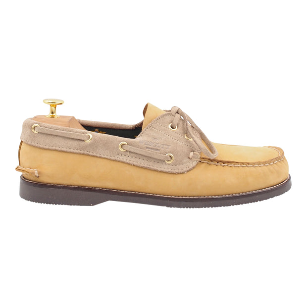 Mens Sand and Grey Boat Shoes