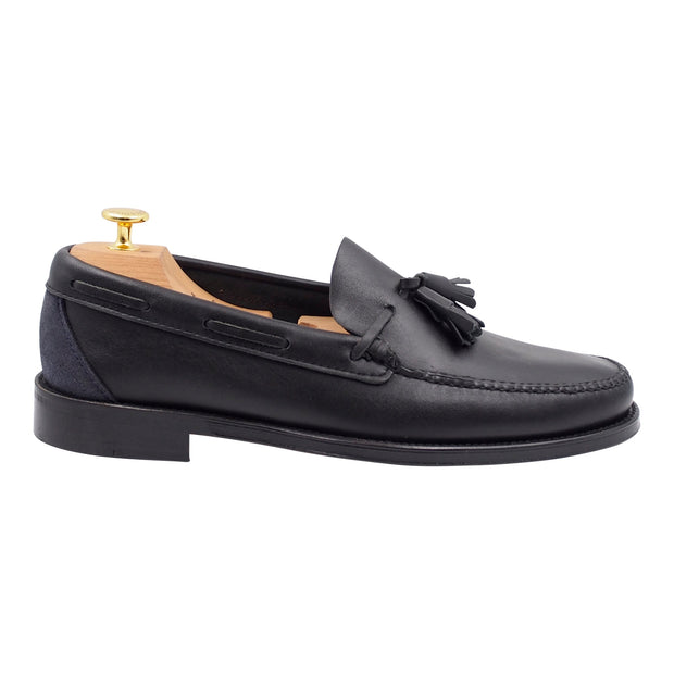 Mens Black Leather Tassel Loafers