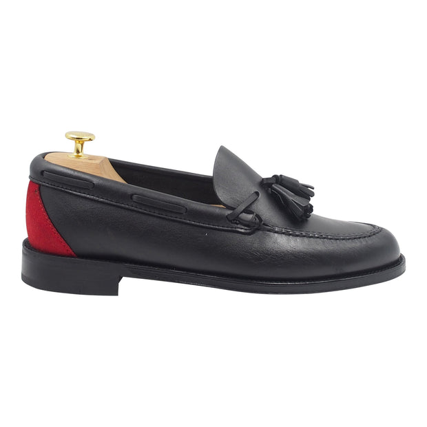 Mens Black and Red Leather Tassel Loafers